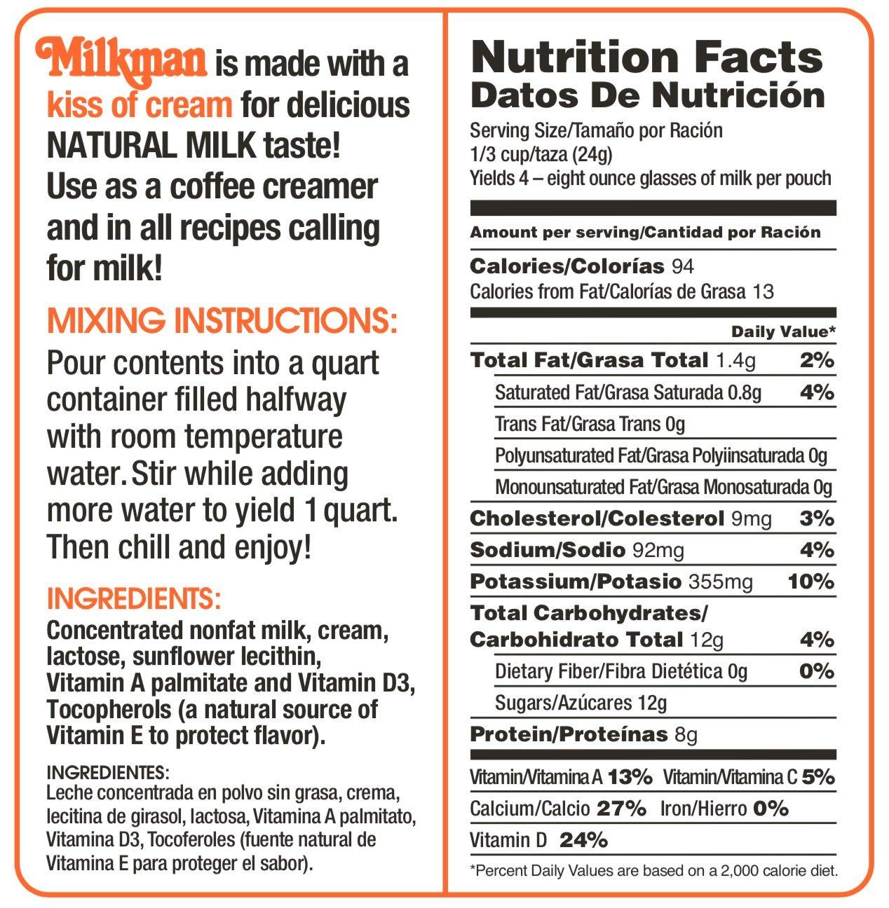 Milkman Instant Low Fat Dry Powdered Milk - 12 Quarts (41.28 Oz) by Milkman (Image #1)