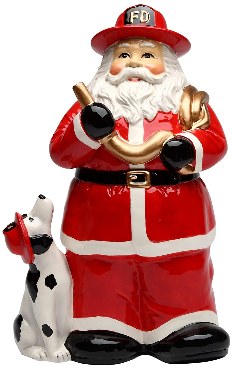 Santa Fireman Ceramic Cookie Jar