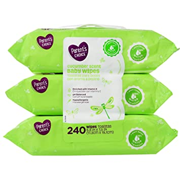 Parents Choice Cucumber Scent Baby Wipes, 3 packs of 80 (240 ...