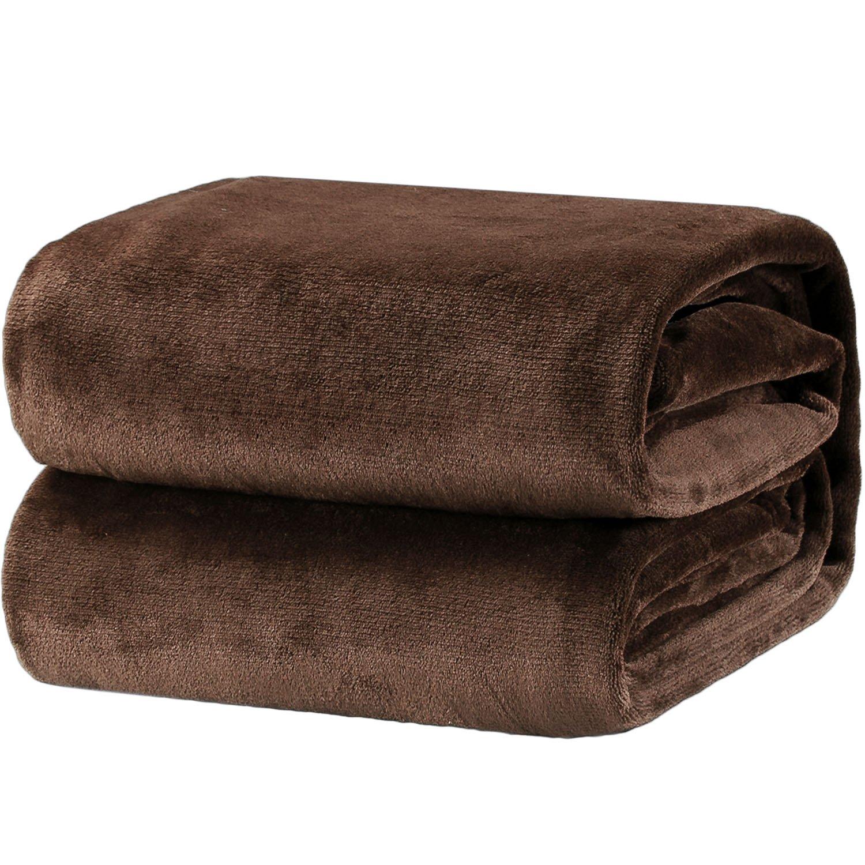 Bedsure Flannel Fleece Luxury Blanket Brown Throw Lightweight Cozy Plush Microfiber Solid Blanket