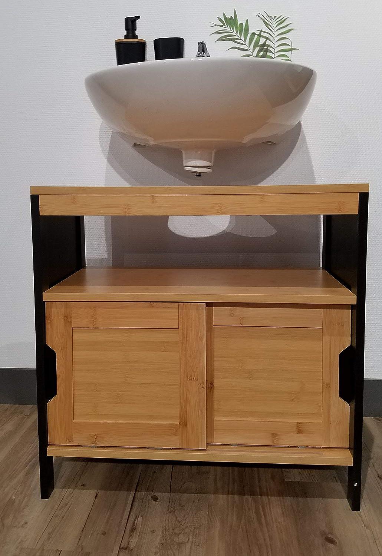TENDANCE Mueble para Debajo del Lavabo o Fregadero - 2 Puertas + 1 estantería + 1 nicho - Estilo Vintage - en Bambu - Color Negro y Madera: Amazon.es: Hogar