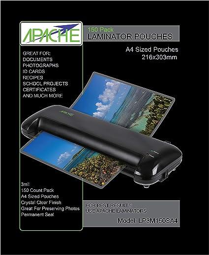 Apache Fundas para Plastificar, Formato A4 (75 Micras, Pack de 150 ...