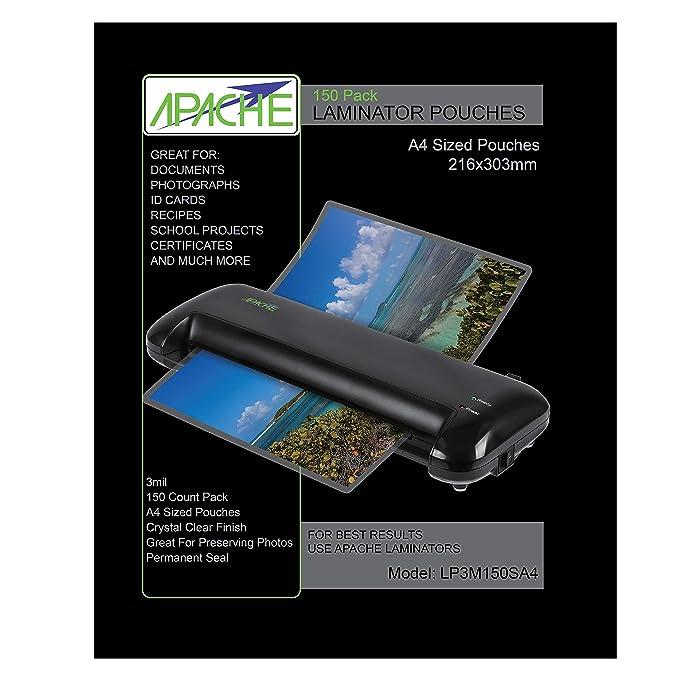 Apache Fundas para Plastificar, Formato A4 (75 Micras, Pack de 150)
