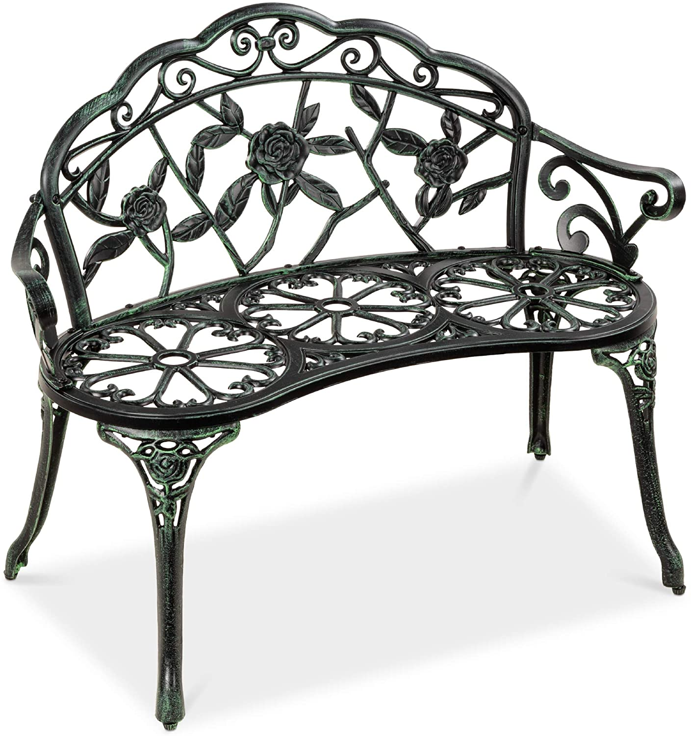 Floral Rose Accented Metal Park Bench