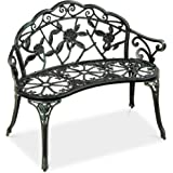 Best Choice Products Steel Garden Bench Loveseat Outdoor Furniture for Patio, Park, Lawn, Deck w/Floral Rose Accent…