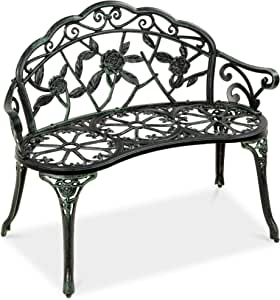 Best Choice Products Steel Garden Bench Loveseat Outdoor Furniture for Patio, Park, Lawn, Deck w/Floral Rose Accent, Antique Finish - Black