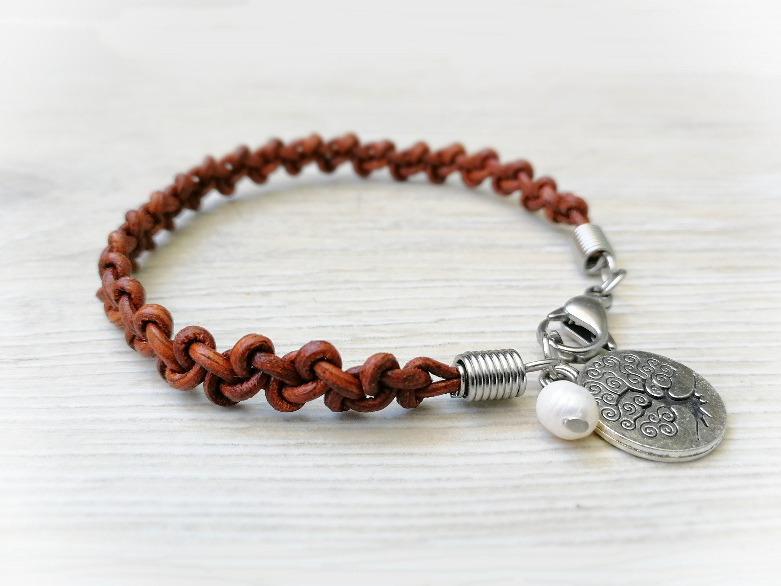 Braided Leather Bracelet Tree of Life Jewelry
