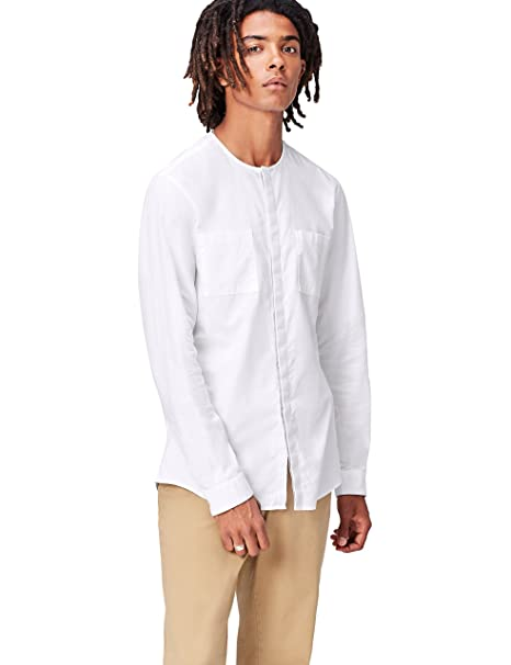 FIND Camisa sin Cuello para Hombre  Amazon.es  Ropa y accesorios a7576737641