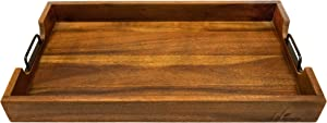 Villa Acacia Large Wood Serving Tray 24 Inch with Handles Dark Finish