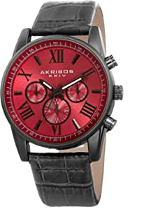 Akribos XXIV Men's Multi-Function Watch - 3 Subdials Day Date GMT On Sunray Dial with Alligator Embossed Genuine Leather Strap Watch - AK911