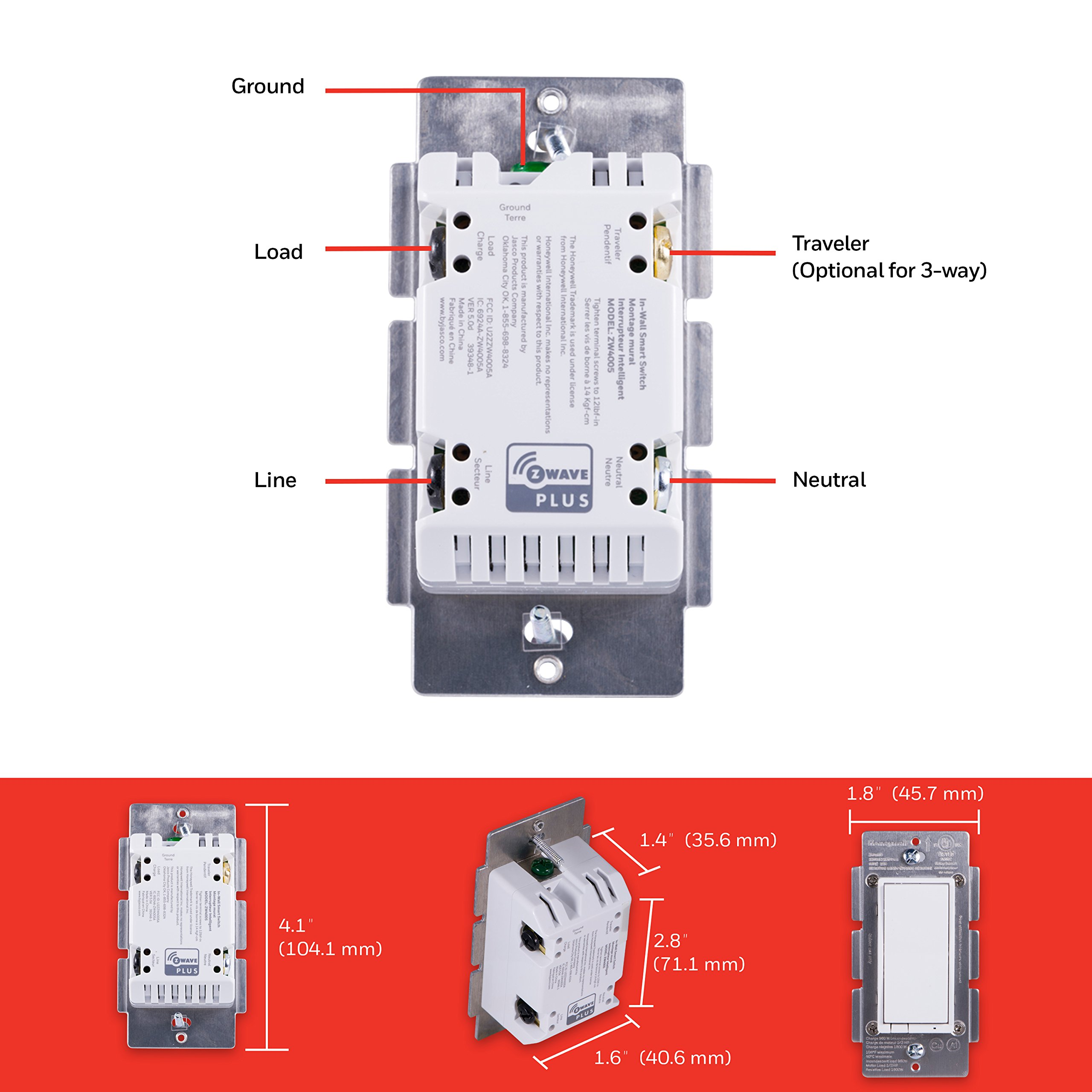 Honeywell Z Wave Plus On Off Smart Light Switch In Wall Paddle 3 Way Alexa Interchangeable White Almond Built Repeater Range Extender Zwave Hub Required