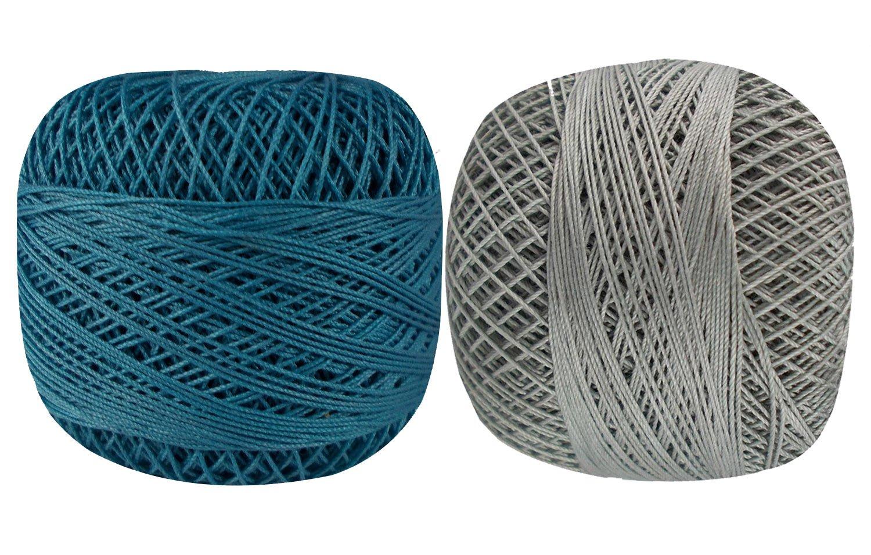 Set of 10 Pcs Gray Turquoise Cotton Crochet Thread Cross Stitch Knitting Yarn Tatting Doilies Skeins Lacey Craft by CraftyArt (Image #2)