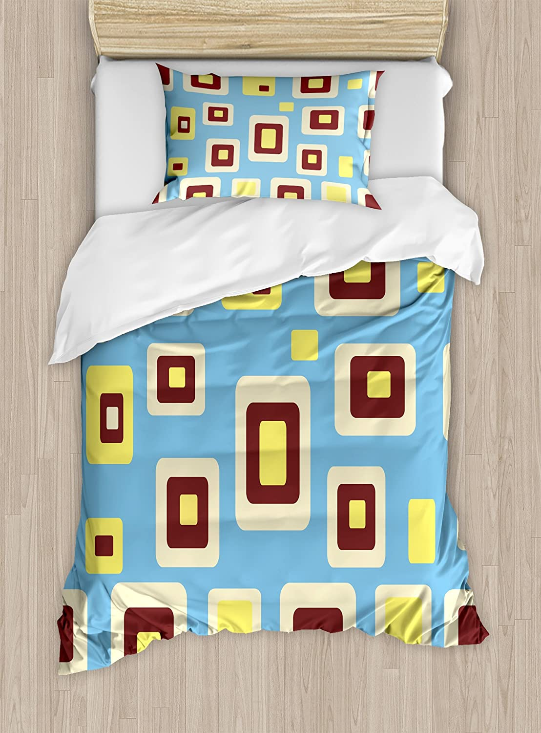 Ambesonne Yellow and Blue Duvet Cover Set, Retro Style Geometric Pattern Round Edged Rectangles, Decorative 2 Piece Bedding Set with 1 Pillow Sham, Twin Size, Blue Yellow