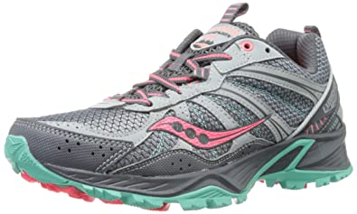 Saucony Women's Excursion TR8 Trail Running Shoe,Grey/Coral/Mint,5.5 M