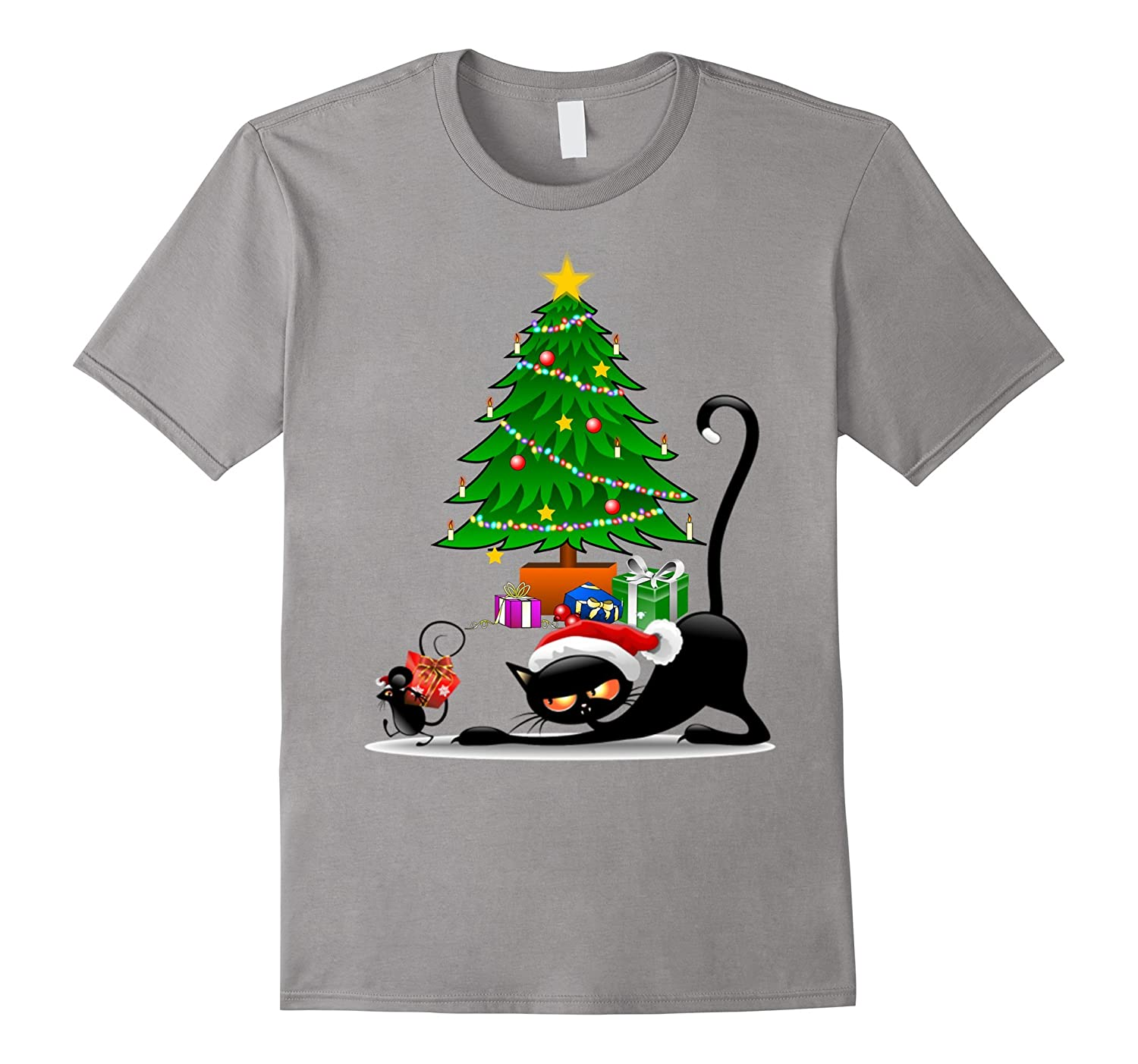 cat and mouse funny Christmas Tree T Shirt Gift - Boys, Girl-CL