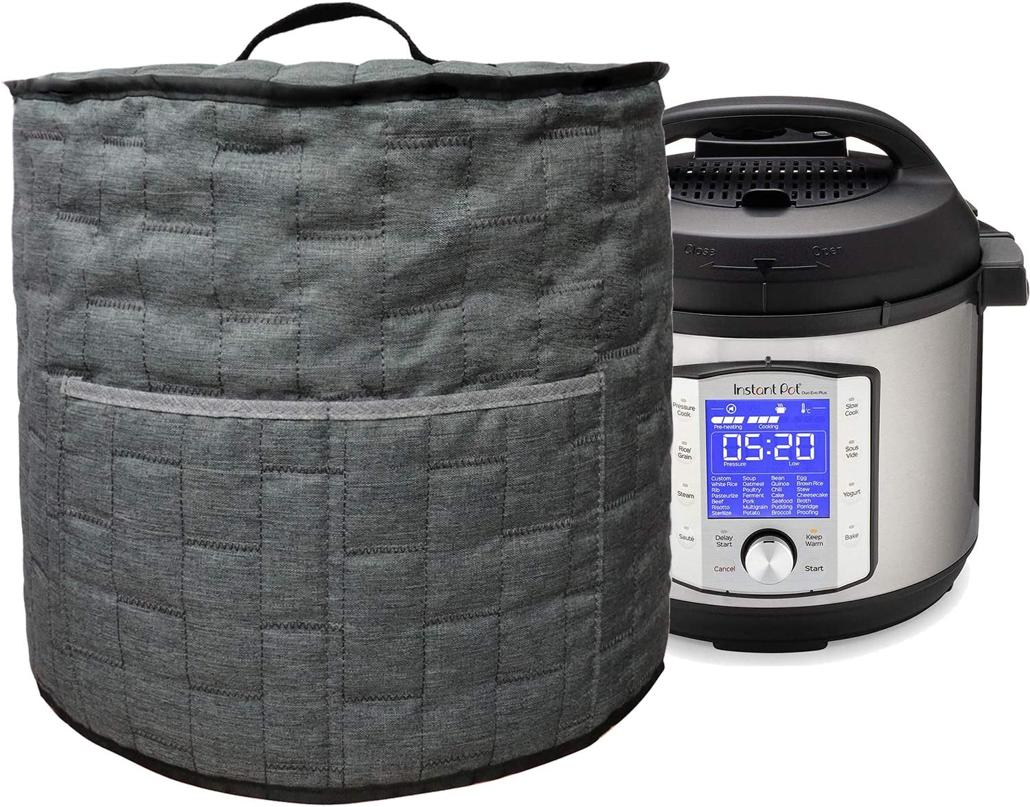 Pressure Cooker Dust Cover with Pocket,Easy Cleaning (For 8 Quart Instant Pot, Grey)