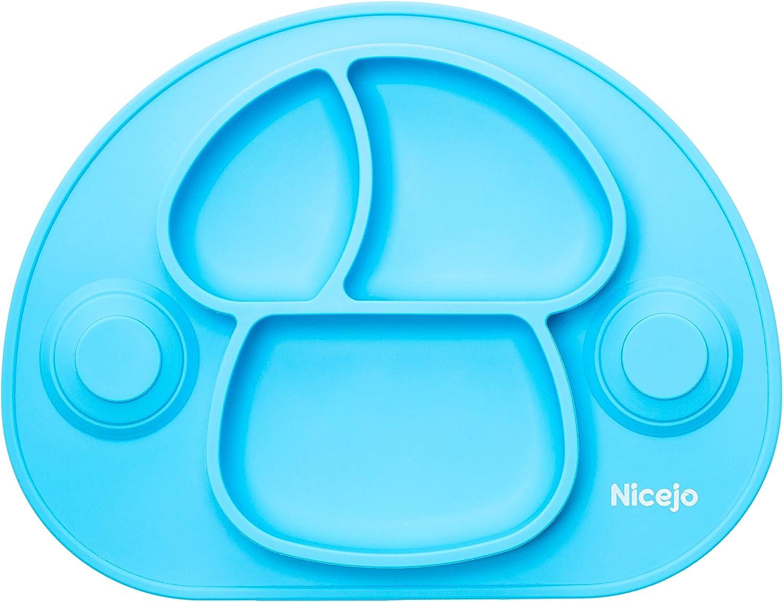 Aprobado por la FDA y sin BPA Platos para Bebes Ni/ños de Silicona Plato Infantil con Ventosas Antideslizantes Placemat Mantel Individual Adecuado para la Mayor/ía de las Sillas Altas