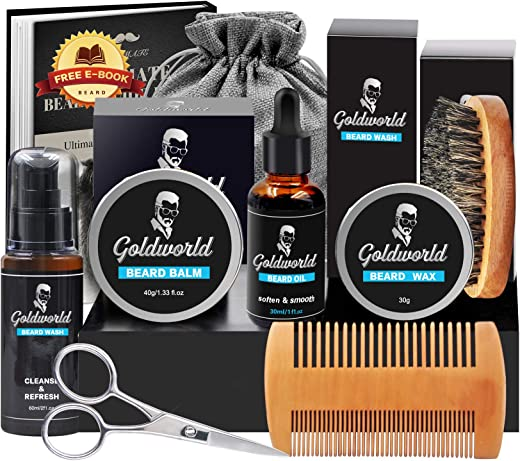 GoldWorld Beard Grooming Kit w/Beard Oil,Beard Balm,Beard Brush,Beard Comb,Beard Ornaments,Beard Wash/Shampoo,Scissor,Shaping tool,Storage Bag,E-Book,Christmas Keychain,Beard Growth Care Gifts for Men