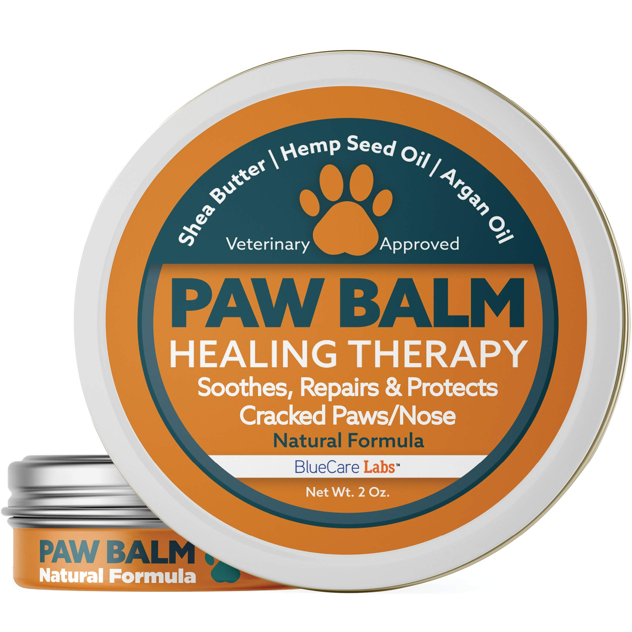 Paw Balm for Dogs and Cats Natural Paw Wax Protection Cracked Paw Repair Paw Moisturiser for Paw Pads Organic Healing Balm for Dog Paws Protects Dry and Chapped Paws Nose Feet Paw Care Made in the USA by BlueCare Labs