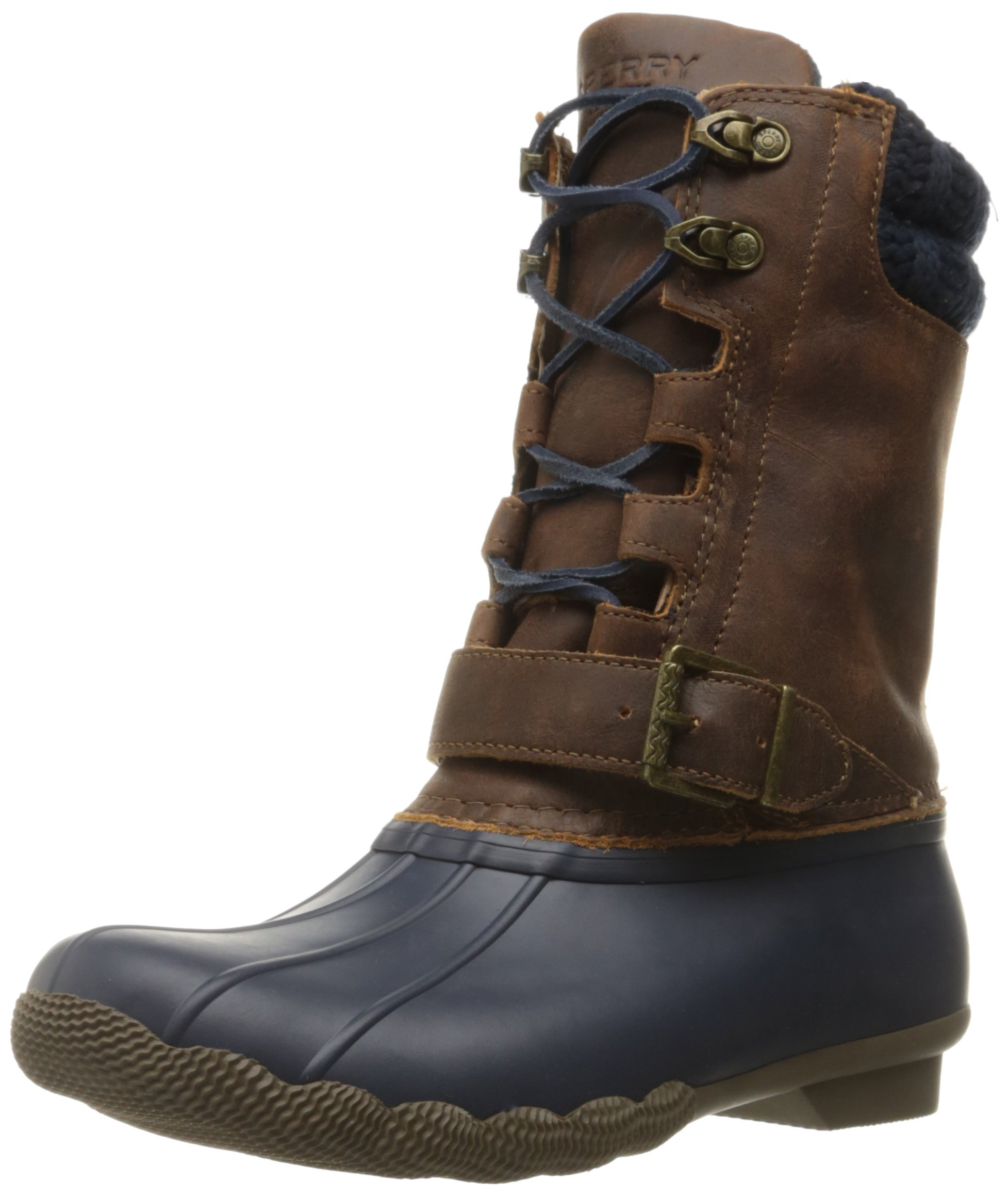 Sperry Top-Sider Women's Saltwater Misty Navy Brown Rain Boot, Navy/Brown, 6.5 M US