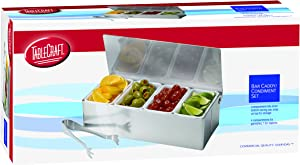 TableCraft 4 Compartment Bar Caddy With Tongs
