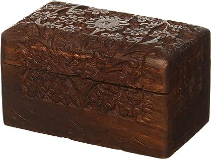 Scatola di Legno marocchina Scatola di Gioielli Orientale per Ragazze e Signore per la conservazione di Gioielli Orientale Piccola Scatola di conservazione con Coperchio Doaa 18cm Alta