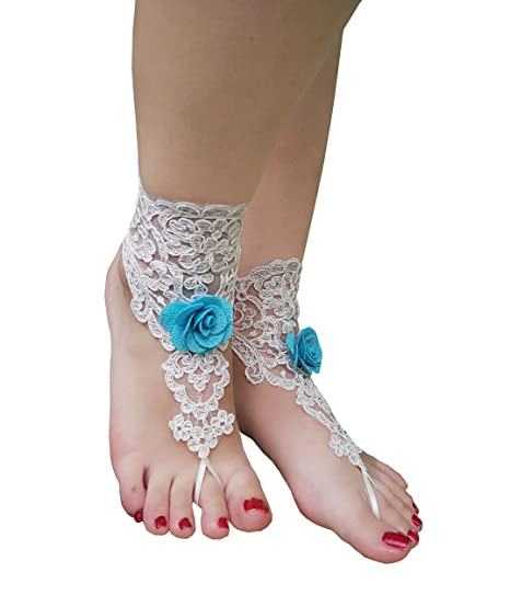 08f3bf55c69a3 YuRong 2 PCS Crochet Barefoot Sandals Lace Anklet Bangles Beach Wedding  Accessories F02