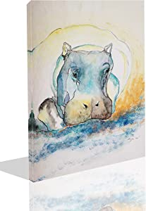 The Melody Art-1 PCE Modern Giclee Prints Framed Animal Artwork Hippo Color Sketch Picture Print to Photo Printed Paintings on Canvas Wall Art Decor for Home Decorations 12 by 16 inch