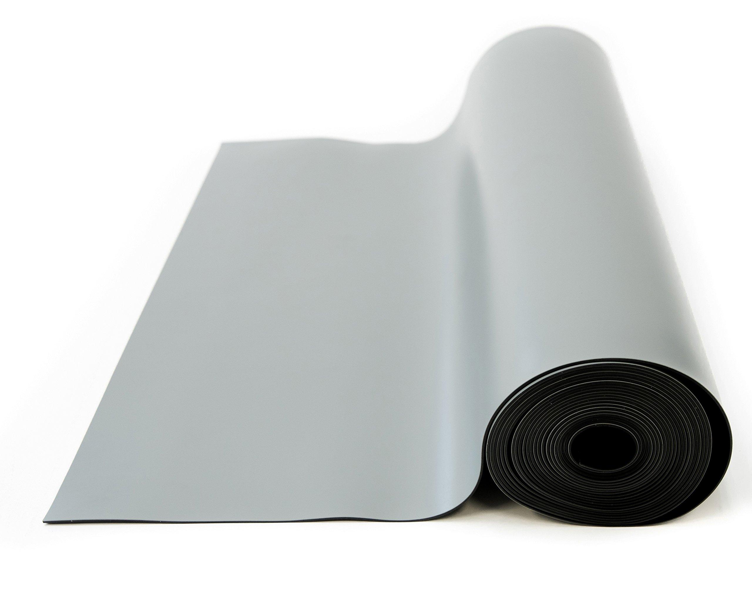 Bertech ESD High Temperature Rubber Mat Roll, 3' Wide x 20' Long x 0.08'' Thick, Gray