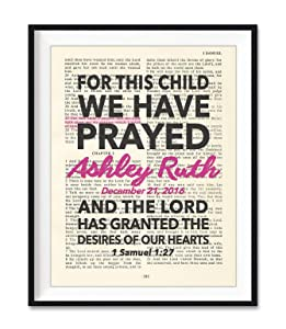 Custom Vintage Bible Verse Page Personalized - For This Child I Have Prayed, 1 Samuel 1:27 Christian Art Print, Unframed, Christian Wall and Home Decor Poster, All Sizes