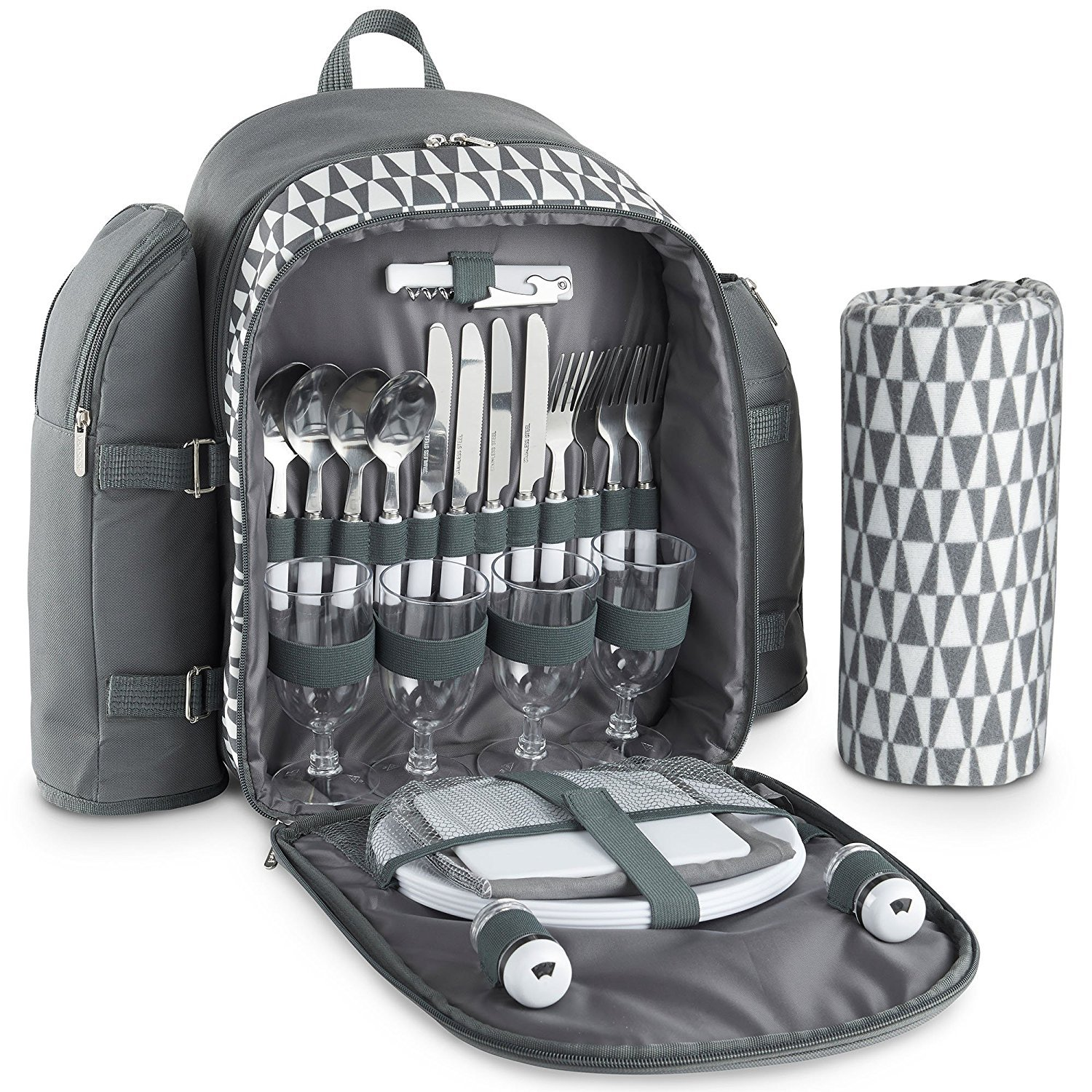 VonShef 4 Person Outdoor Picnic Backpack Bag Set with Blanket - Includes 29 Piece Dining Set & Insulated Cooler Compartment to Keep Food Chilled for Longer - Gray by VonShef