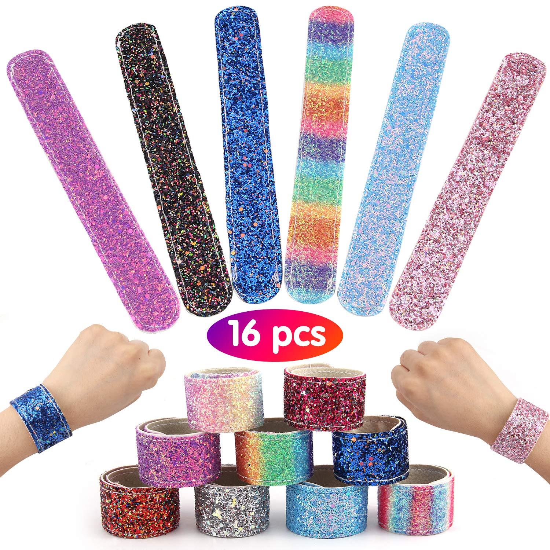Satkago 16Pcs Glitter Slap Bracelets Glitter Wristband Bracelets Toy for Girls Kids Adults Sparkle Princess Theme Birthday Party Favors Classroom Prize