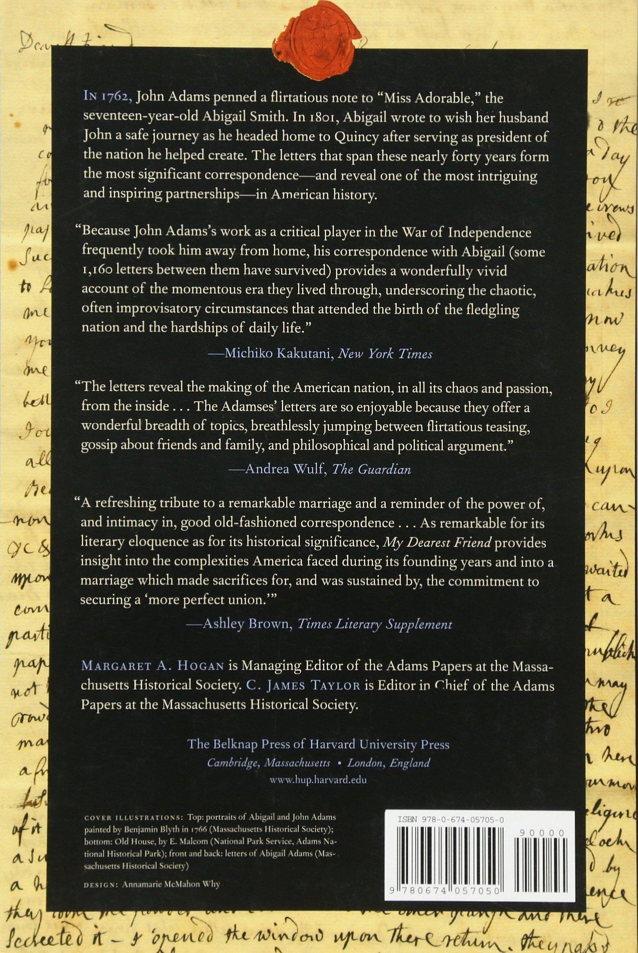 Amazon Com My Dearest Friend Letters Of Abigail And John Adams