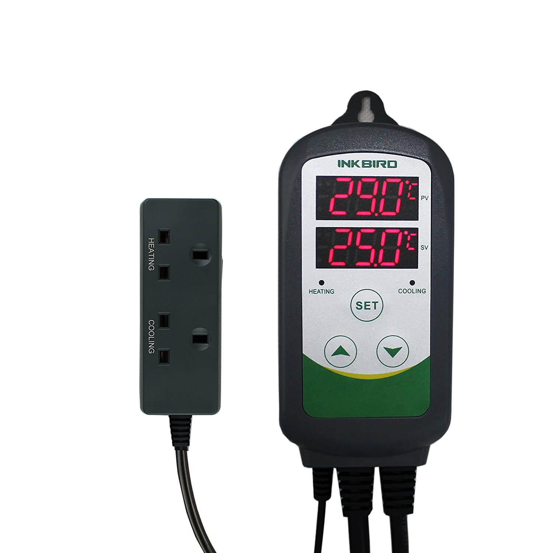 Inkbird Termostato controlador de temperatura digital, enchufe tipo G (Reino Unido), doble relé