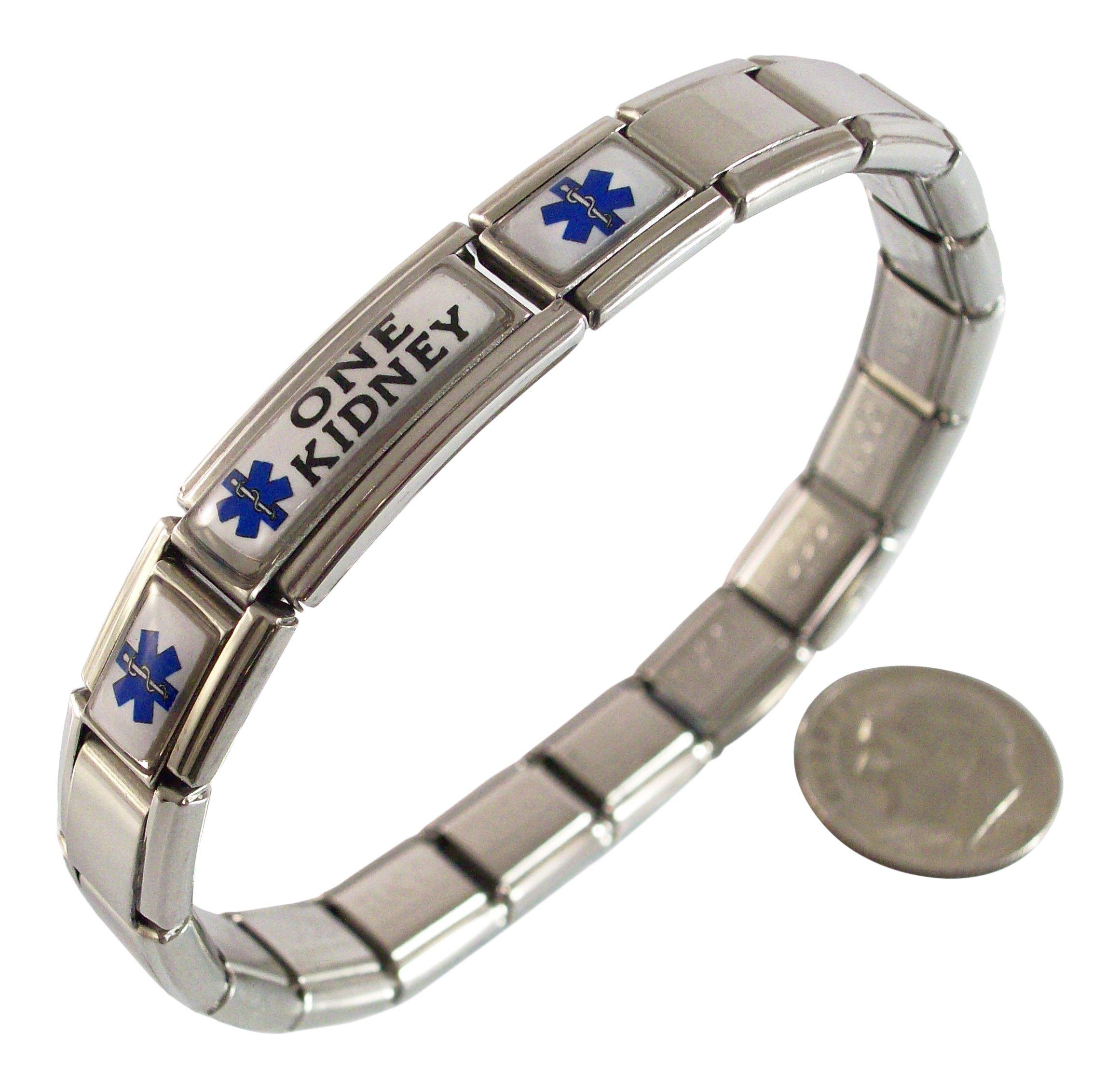 Gadow Jewelry One Kidney Medical ID Alert Italian Charm Bracelet