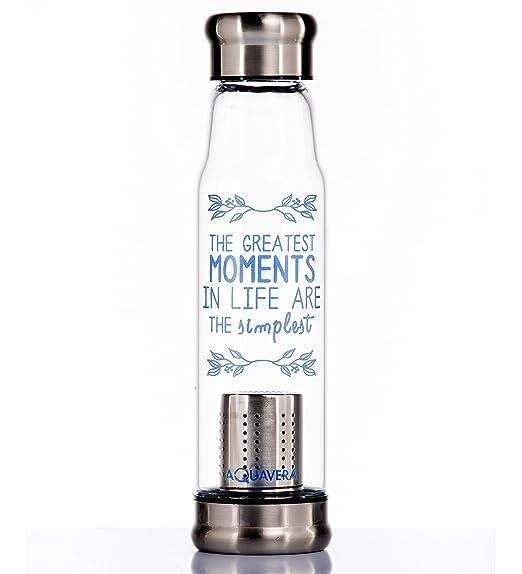 47 opinioni per Aquavera- Bottiglia Vetro Con Scritte Motivazionali Per Infusi e Bevande alla