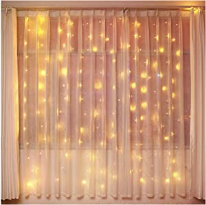 Bolylight Waterproof Curtain String Light 9.8 x 9.8ft 300 LED Starry Fairy Lights for Wedding Home Party Garden Bedroom Outdoor Indoor Wall Decorations (Warm White)