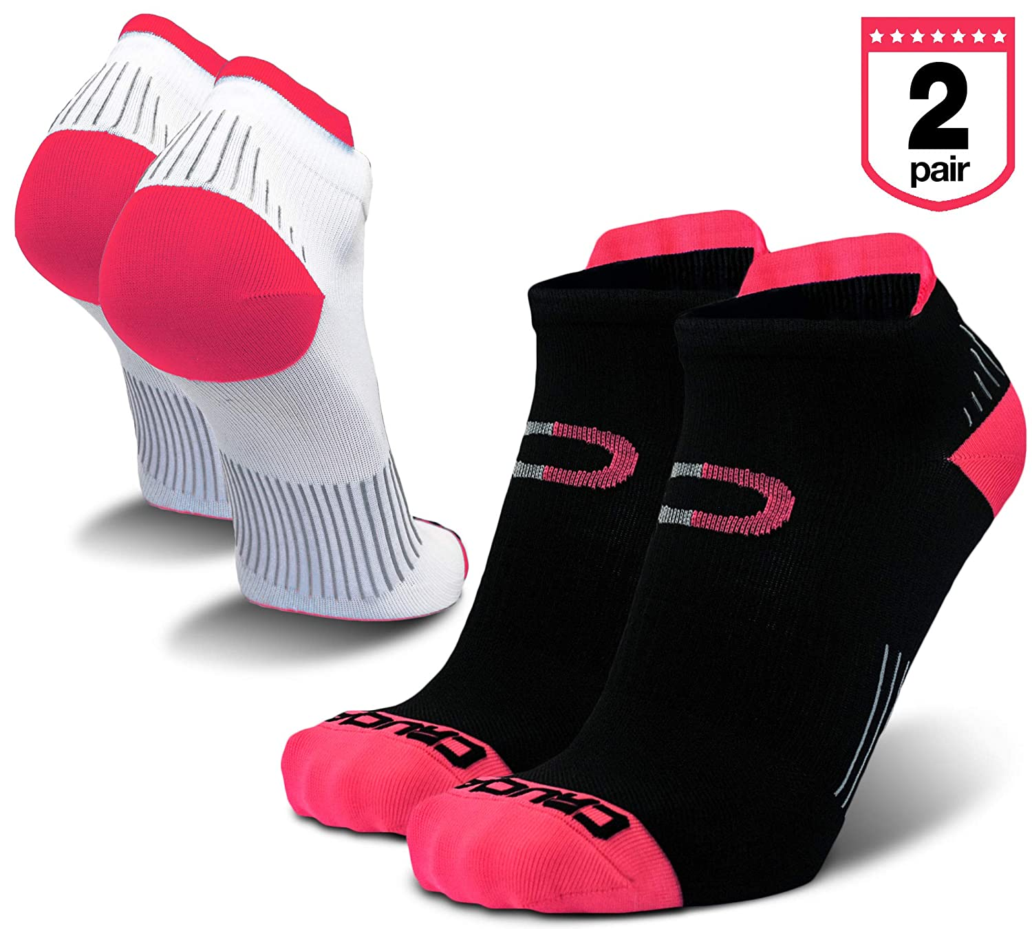Low Cut Compression Running Socks for Men & Women (2 Pairs) with Athletic No Show Ankle Tab Crucial Compression