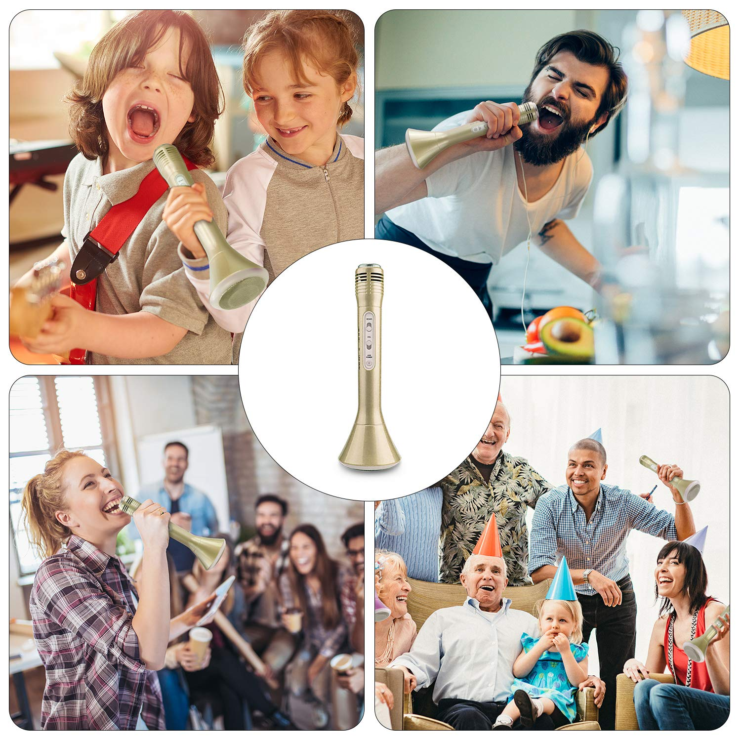 Microphone for Kids, Wireless Bluetooth Microphone with Bluetooth Speaker and Multi-color LED Lights Handheld Singing Machine Girls Boys Birthday Gift Compatible with PC/iPad/Smartphone - (Champagne) by WOSTOO (Image #6)