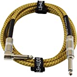 GLS Audio 6 Foot Guitar Instrument Cable - Right Angle 1/4-Inch TS to Straight 1/4-Inch TS 6 FT Brown Yellow Tweed Cloth Jacket - 6 Feet Pro Cord 6' Phono 6.3mm - SINGLE