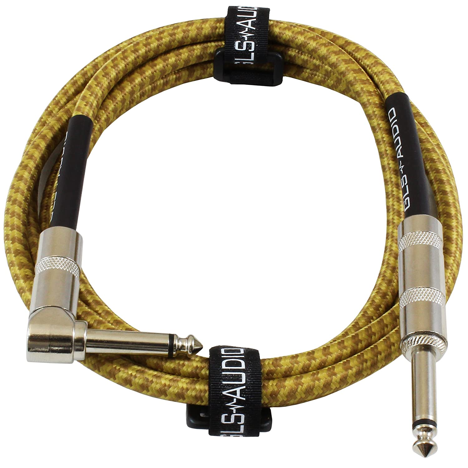 GLS Audio 6 Foot Guitar Instrument Cable - Right Angle 1/4-Inch TS to Straight 1/4-Inch TS 6 FT Brown Yellow Tweed Cloth Jacket - 6 Feet Pro Cord 6' Phono 6.3mm - SINGLE 37-467