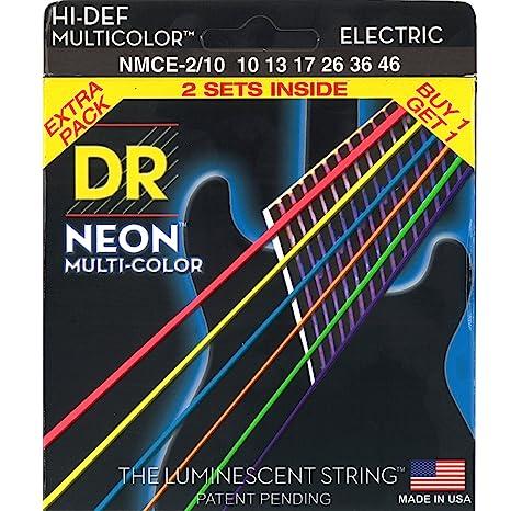 Multi-colores neón DR deslizante fotoluminiscente de alta definición juego de cuerdas para guitarra eléctrica