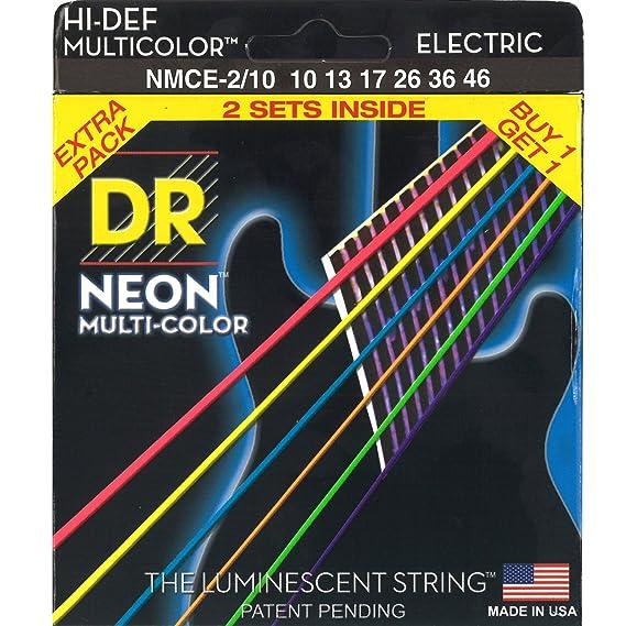 Multi-colores neón DR deslizante fotoluminiscente de alta definición juego de cuerdas para guitarra eléctrica juego de 2 de gran calibre 10-46: Amazon.es: ...