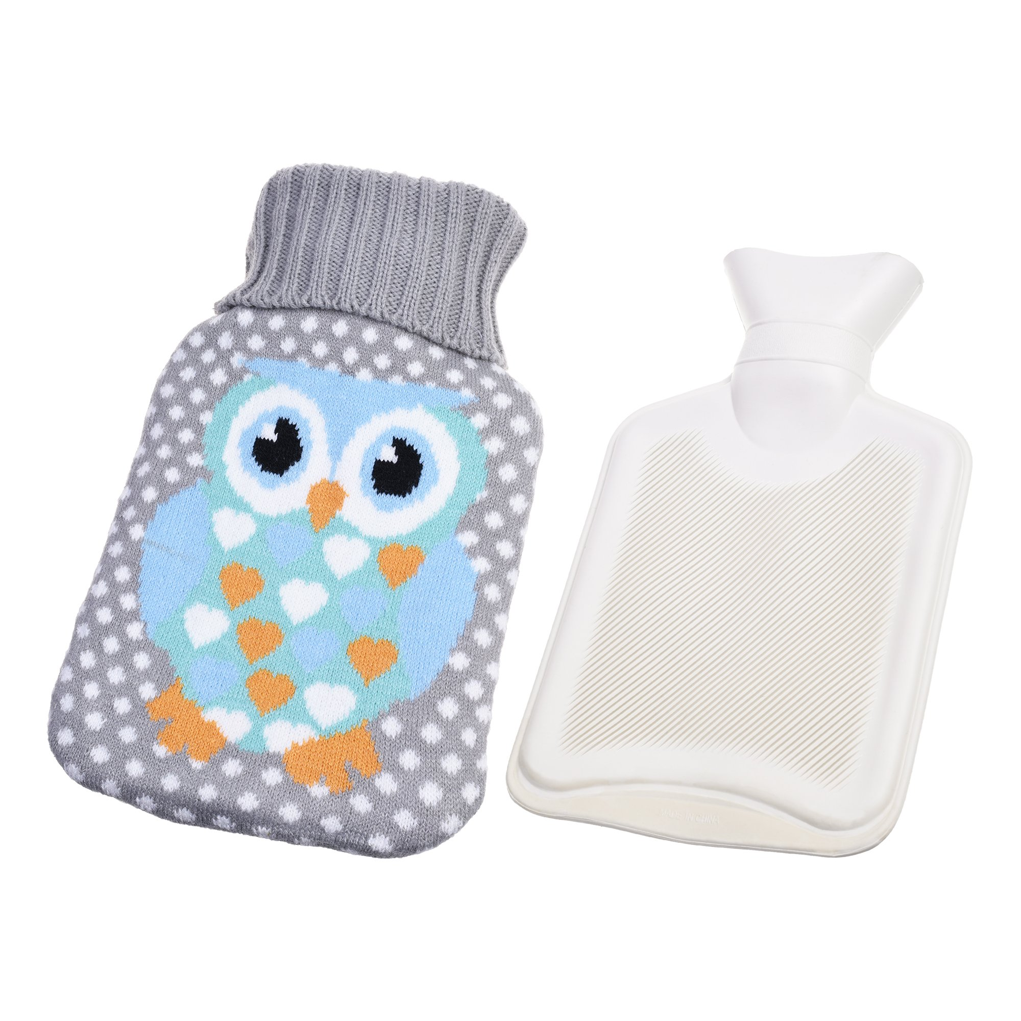 Kloud City Cute Rubber Hot Water Bag with Plush Owl Fleece Knitted Covers 1 Liter Water Injection Warm Heater Bag for Hand Feet Belly Warmer Gray