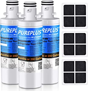 PUREPLUS ADQ747935 Filter Replacement for LG LT1000P, LT1000, Kenmore Elite 9980, LT1000PC, MDJ64844601, ADQ74793501, LMXS28626S, LMXS30796S, LMXC23796S, LT120F Refrigerator Water and Air Filter,3Pack