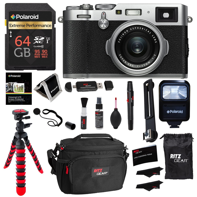 Fujifilm X100F 24 3 MP APS-C Digital Camera - Silver, Polaroid 64GB Memory,  Polaroid Flash, Ritz Gear Tripod, Cleaning Kit, Camera Case, Card Reader,