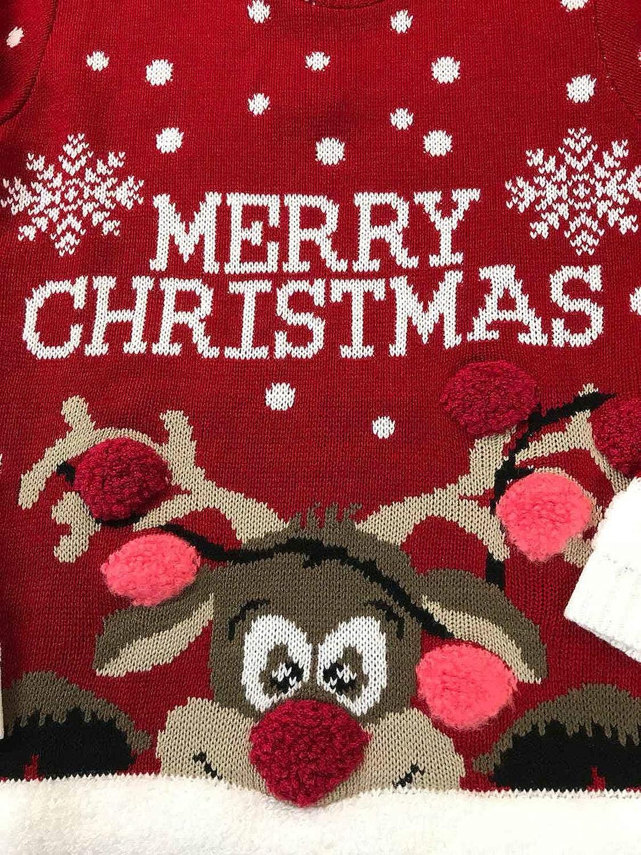 Girls Merry Christmas 3D Pom Pom Sweater Red Jumper