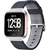 SongNi for Fitbit Versa Straps Armbands New Nylon Watch Fine Woven Armband Replacement Strap Replacement for Fitbit Versa SmartWatch-Black