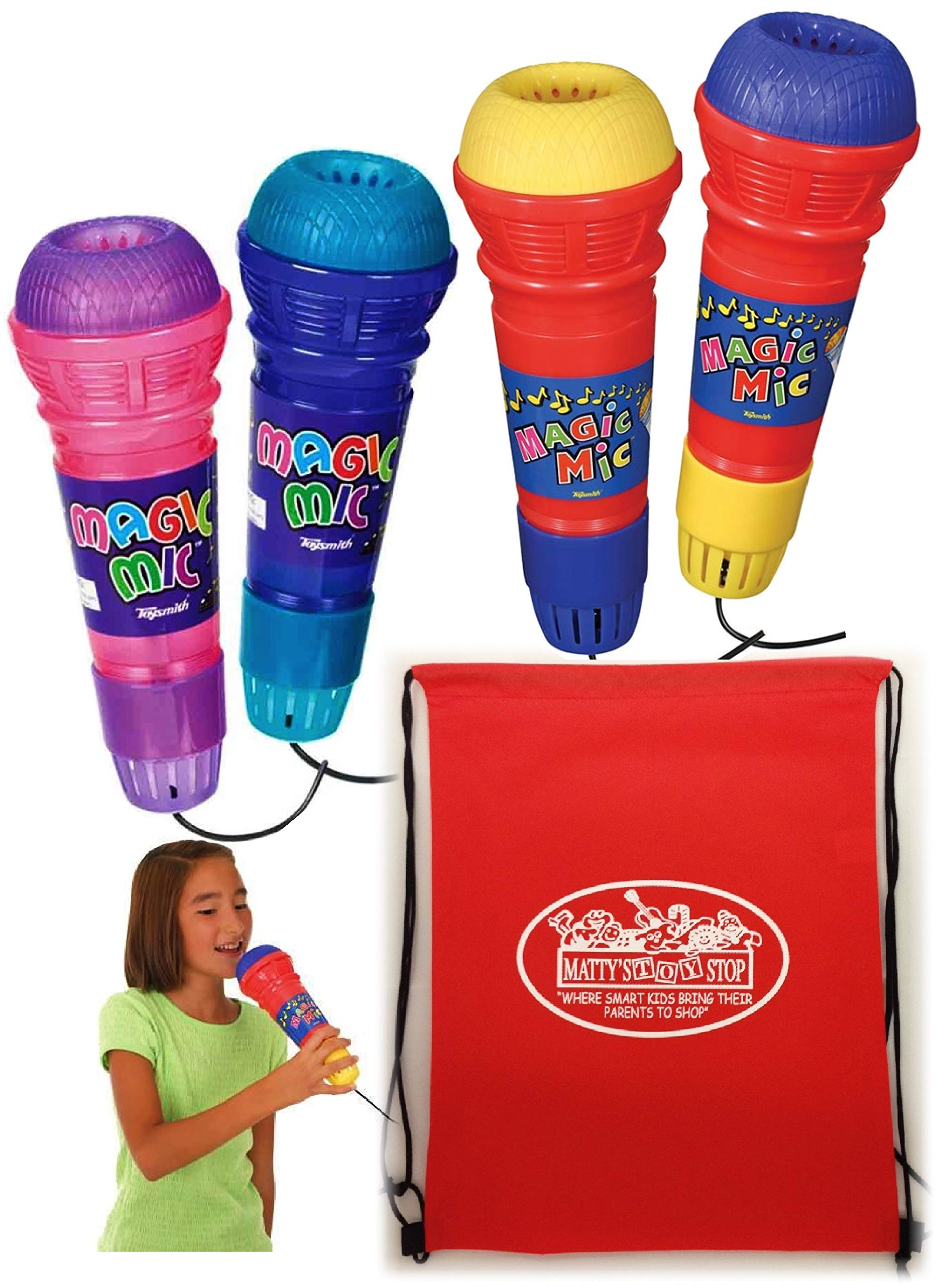 Toysmith Original Magic Mic & Translucent Magic Mic Complete Gift Set Bundle with Bonus Matty's Toy Stop Storage Bag - 4 Pack
