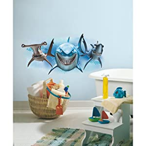 RoomMates RMK2558GM Finding Nemo Sharks Peel & Stick Giant Wall Decals, Multicolor